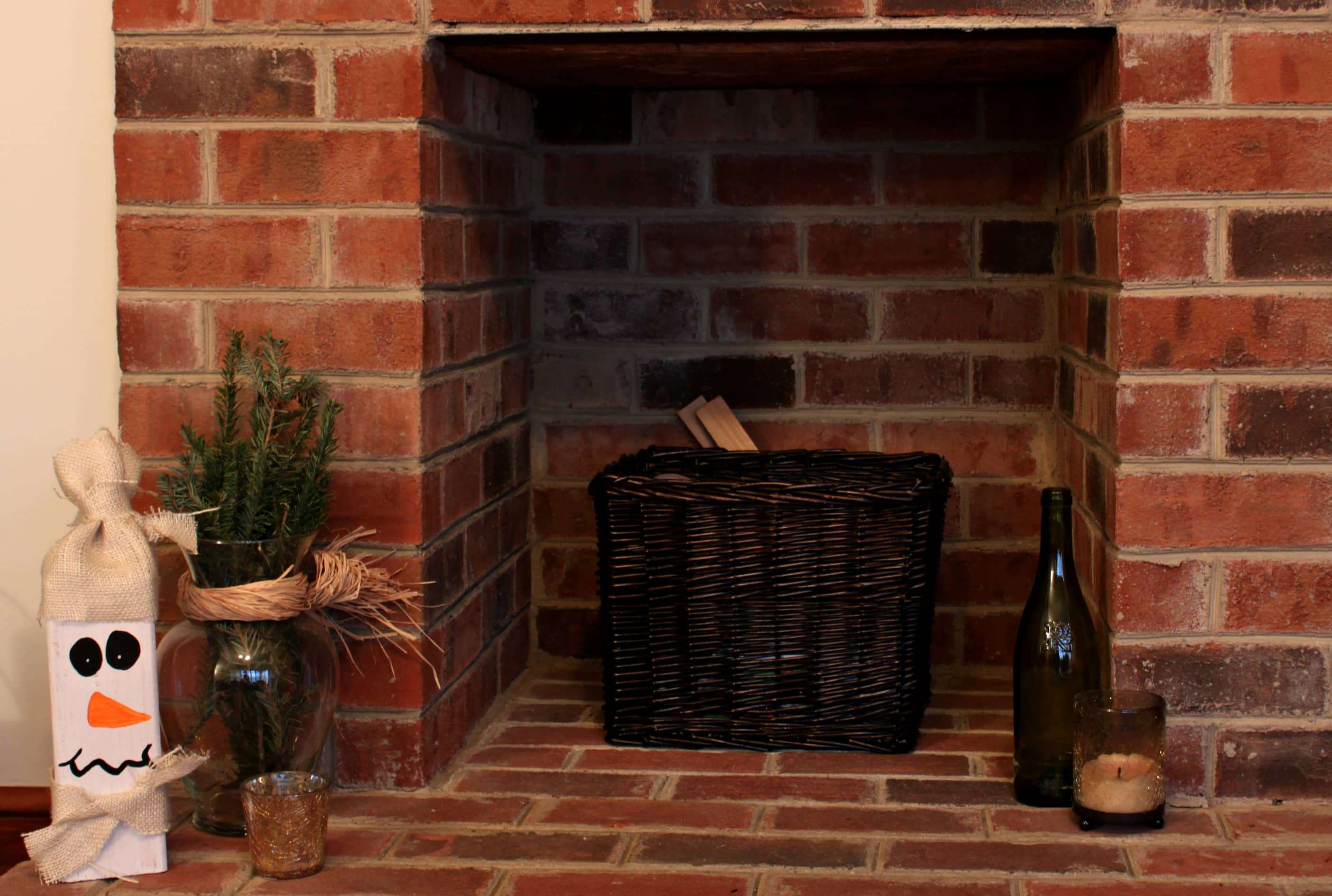 winter fireplace decorations