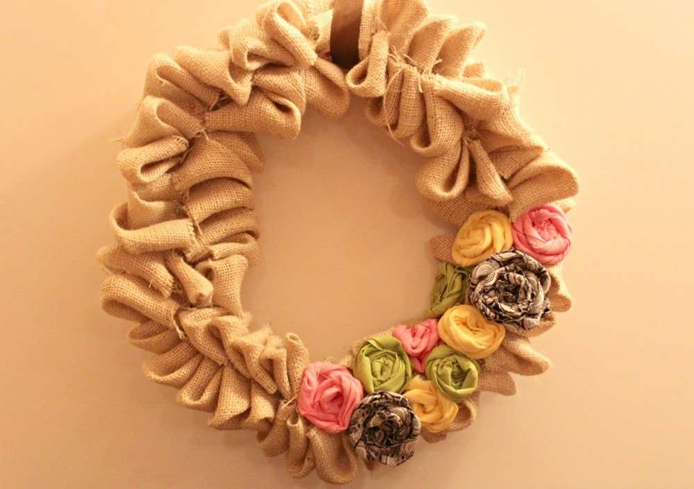 fabric flower spring wreath