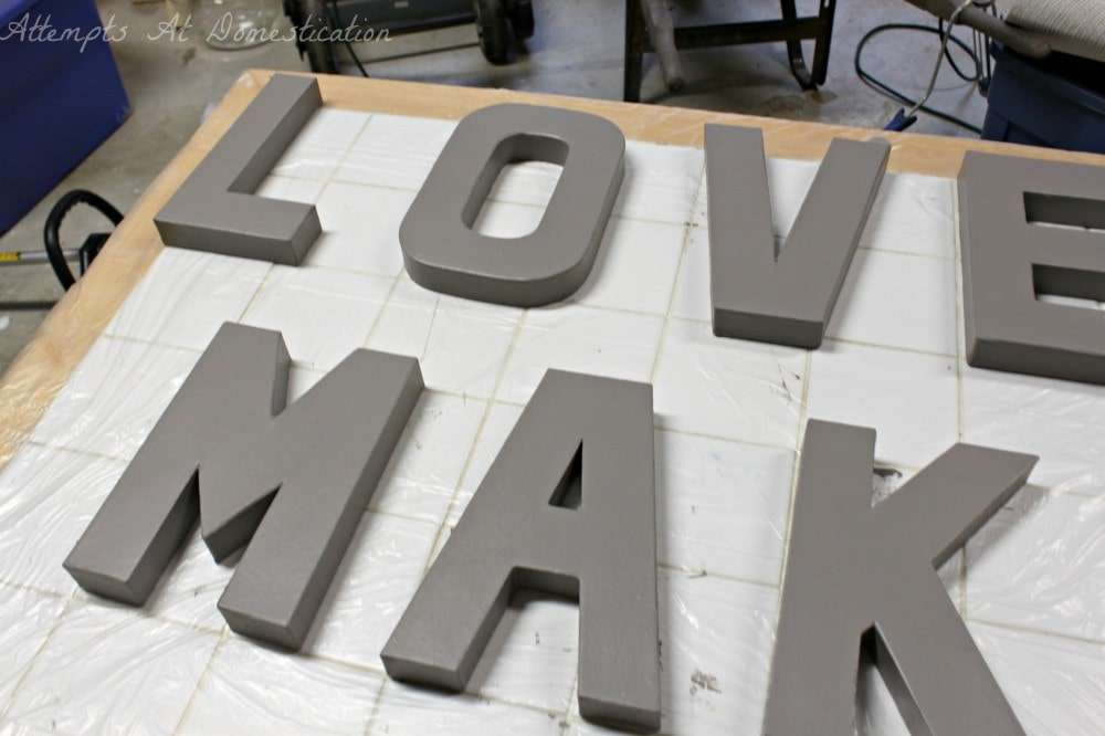 painting letters for 3D wall art