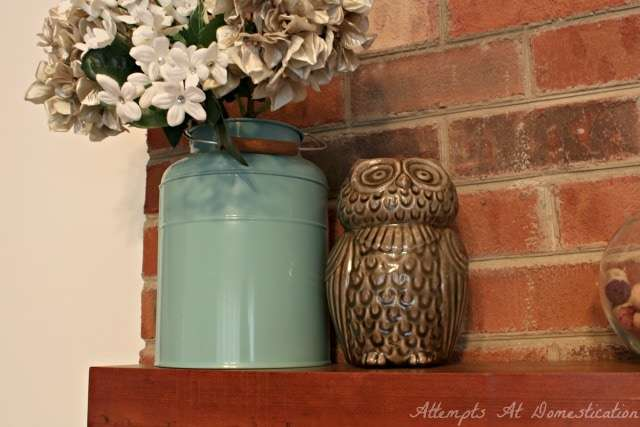Bird themed spring mantel