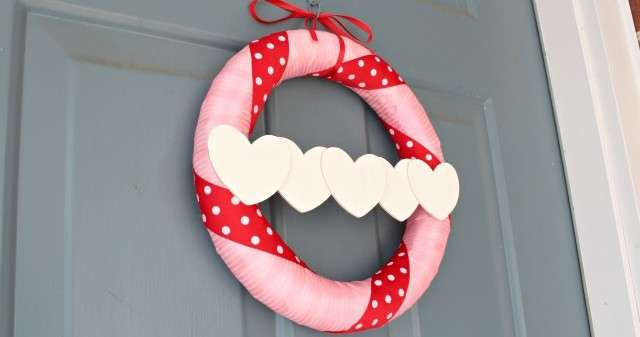 Simple DIY Valentine's Day Wreath Using Pink and RedRibbon