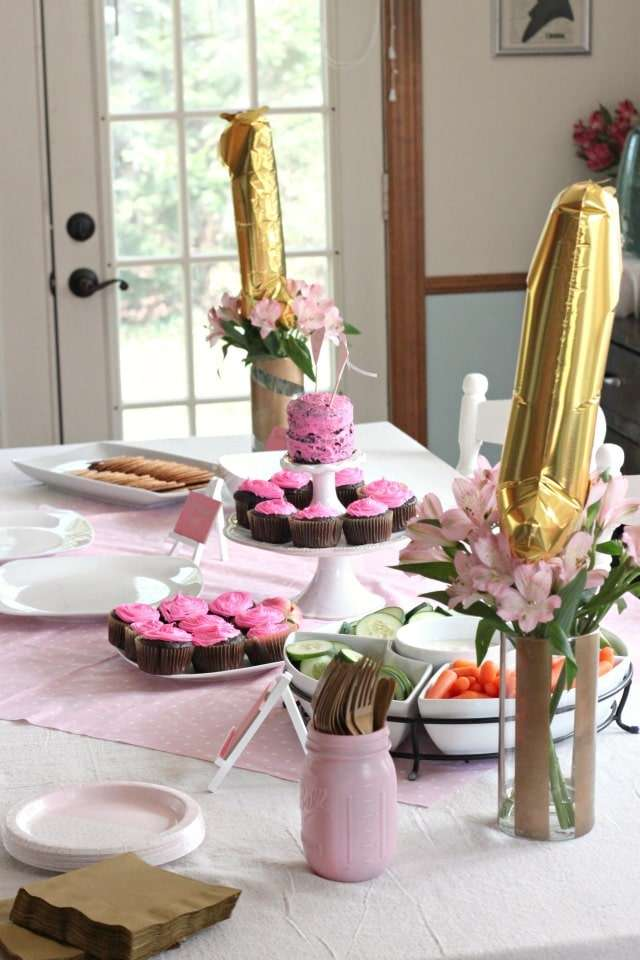 first birthday pink and gold decor