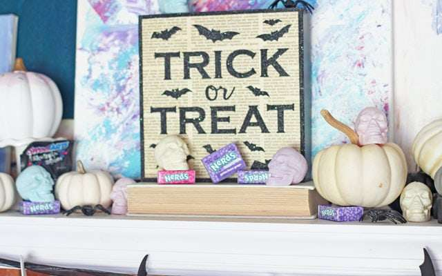 Colorful Candy Halloween Mantel