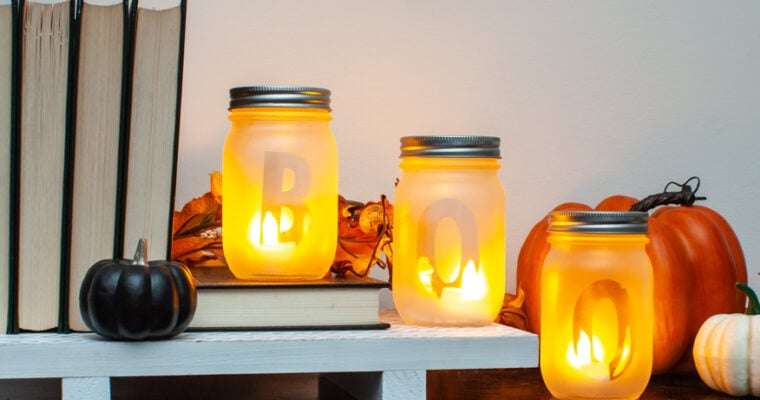 Frosted Mason Jar Lanterns